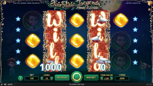 Fairytale Legends Hansel & Gretel Review Slots Stacked wild re-spin triggers a 1000 coin payout.
