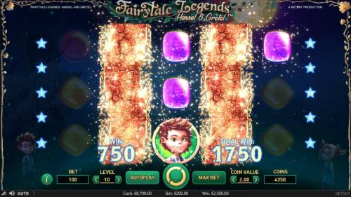 Fairytale Legends Hansel & Gretel Review Slots A second re-spin triggers an additional 750 coin award for a total win of 1750 coins.