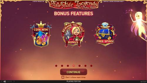 Fairytale Legends Red Riding Hood Review Slots Bonus Features Include - Coin Win, Beware the Wolf Bonus and Free Spins.