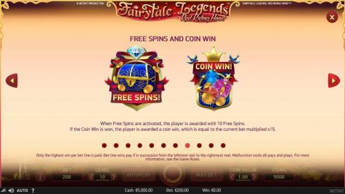 Fairytale Legends Red Riding Hood Review Slots Free Spins and Coin Win Bonus Game Rules