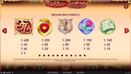 Fairytale Legends Red Riding Hood Review Slots High value slot game symbols paytable