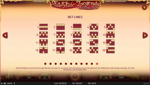Fairytale Legends Red Riding Hood Review Slots Winning Bet Lines Diagrams 1-20