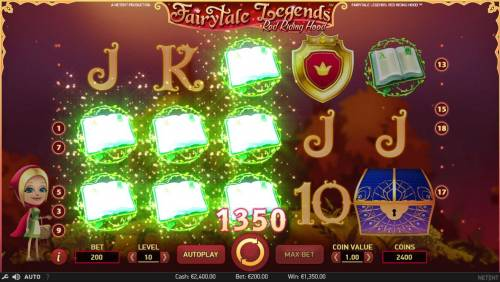 Fairytale Legends Red Riding Hood Review Slots Multiple winning paylines triggers a 1350 coin big win!