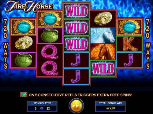 Fire Horse Review Slots A big win triggered by multiple winning combinations.