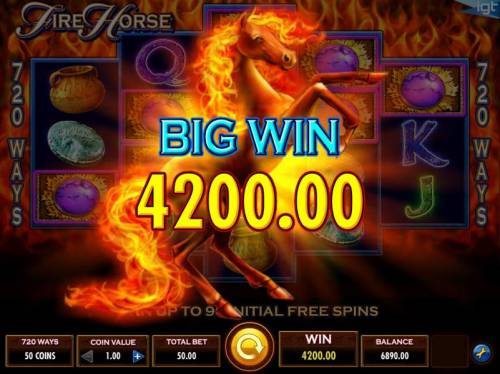 Fire Horse Review Slots A 4200.00 big win awarded for playing the free spins feature.