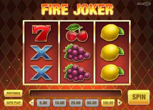 Fire Joker Review Slots Main game board featuring three reels and 5 paylines with a $16,000 max payout