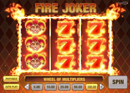 Fire Joker Review Slots Wheel of Multipliers triggered.