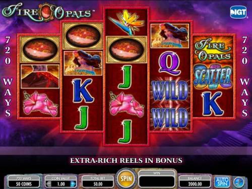 Fire Opals Review Slots main game board featuring five reels and 720 ways to win