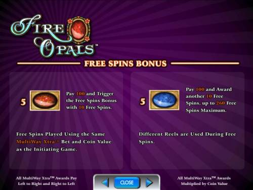 Fire Opals Review Slots free spins bonus rules