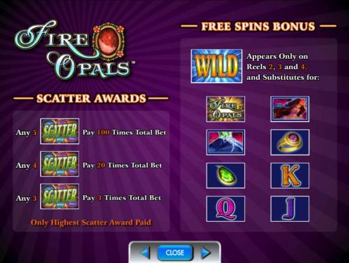 Fire Opals Review Slots free spins bonus and scatter awards