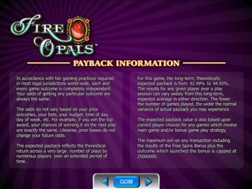 Fire Opals Review Slots payback information