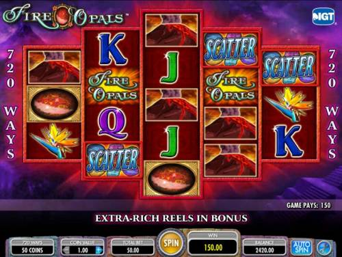 Fire Opals Review Slots three scatter symbols triggers 150 coin jacpot payout