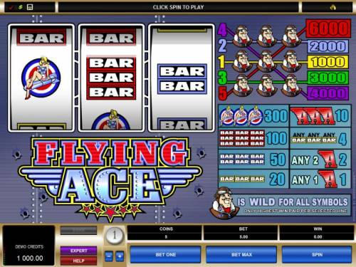 Flying Ace Review Slots main game board featuring 3 reels and five paylines