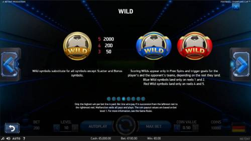 Football Champions Cup Review Slots Wild symbol paytable and rules