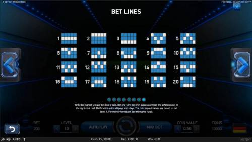 Football Champions Cup Review Slots Payline Diagrams 1-20