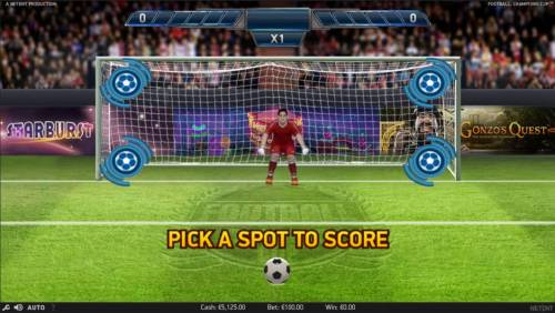 Football Champions Cup Review Slots Pick a spot to score, you have 4 places of the goal to choose from.