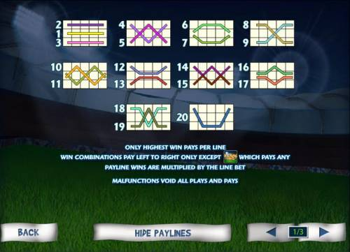 Football Fans Review Slots 20 payline configuration layouts