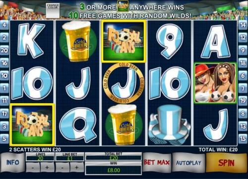 Football Fans Review Slots 2 scatter symbols trigger payout