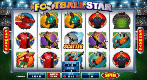 Football Star Review Slots Main game board featuring five reels and 243 ways to win