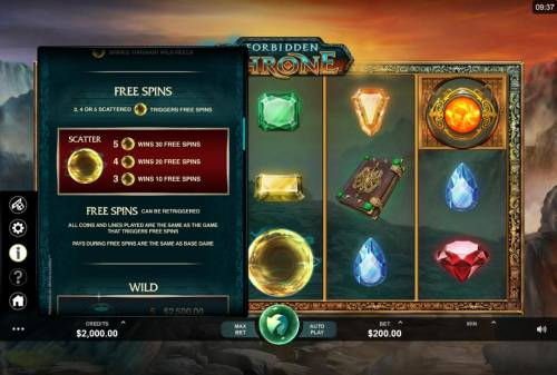Forbidden Throne Review Slots Free Spins - 3, 4 or 5 scattered golden orbs triggers up to 30 free spins.
