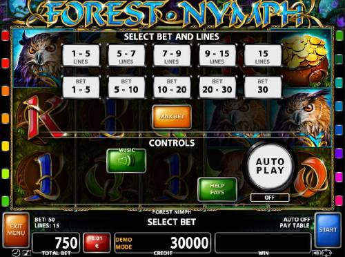 Forest Nymph Review Slots Select Bet and Lines - 1 to 15 Lines and 1 to 30 coins per line.