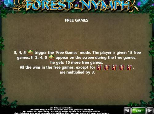 Forest Nymph Review Slots 3, 4 or 5 Celtic Cross icons trigger 15 free games with all wins multiplied by x3.