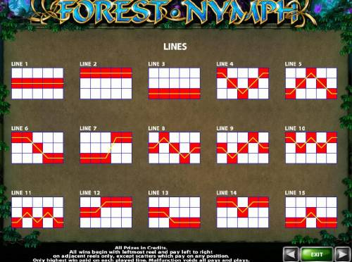 Forest Nymph Review Slots Payline Diagrams 1-15. All wins begin with the leftmost reel and pay left to right on adjacent reels only, except scatters which pay on any position.