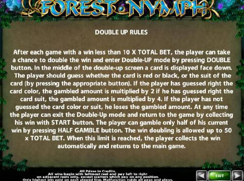 Forest Nymph Review Slots Double Up Gamble Feature Rules