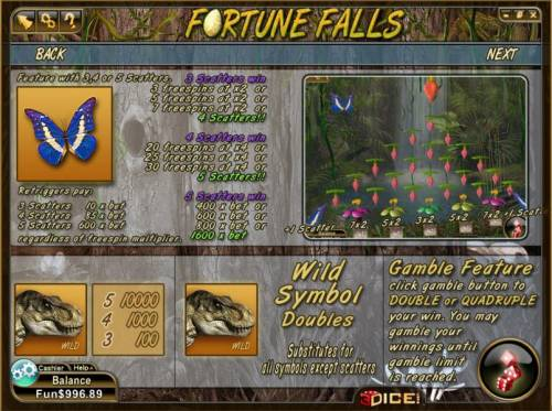 Fortune Falls Review Slots scatter, wild and gamble feature rules and paytable
