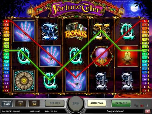 Fortune Teller Review Slots another example of multiple winning paylines