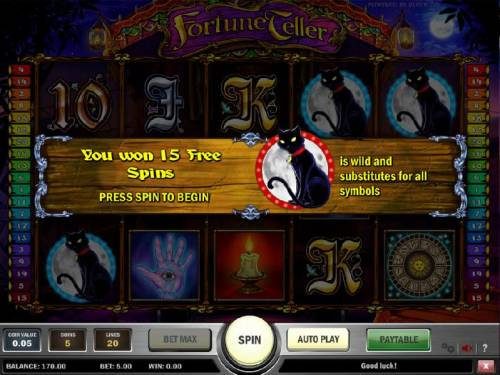 Fortune Teller Review Slots three balck cat symbols triggers 15 free spins