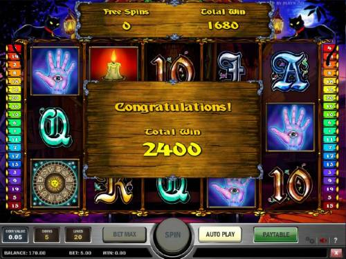 Fortune Teller Review Slots our free  spins feature paid out a total of 2400 coins for a big win