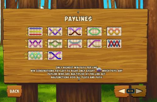 Foxy Fortunes Review Slots Payline Diagrams 1-25. Only highest win pays per line. Win combinations pay left to right only except scatter which pays any.