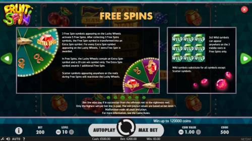 Fruit Spin Review Slots Free Spins Rules - Collect three red dianods during the Lucky Wheel feature to win 5 free spins.