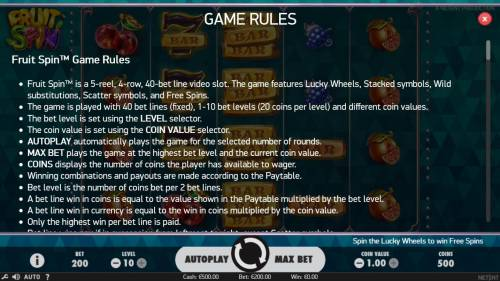 Fruit Spin Review Slots General Game Rules