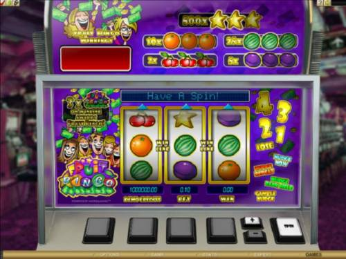 Fruit Bingo Review Slots Main game board featuring three reels and 1 payline with a $5,000 max payout