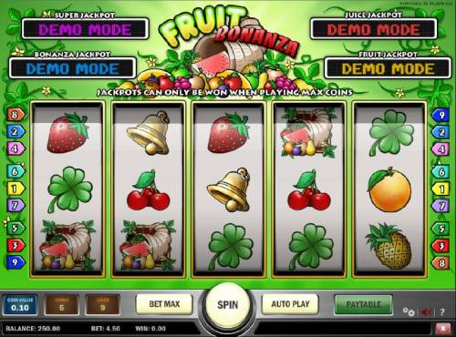 Fruit Bonanza Review Slots main game board featuring five reels, nine paylines and four progressive jackpots