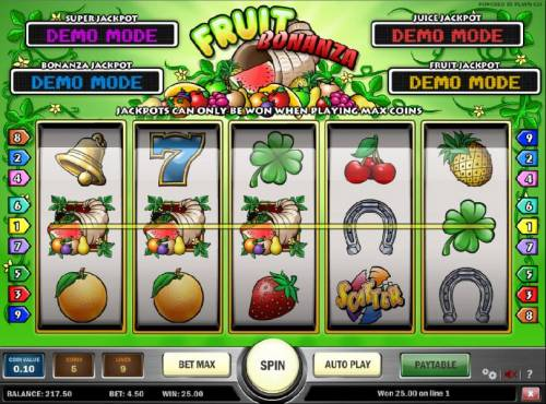 Fruit Bonanza Review Slots three jackpot symbols triggers the fruit jackpot