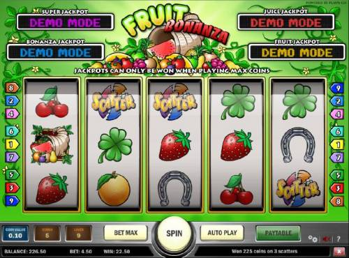 Fruit Bonanza Review Slots three scatter stmbols triggers a $22.50 payout