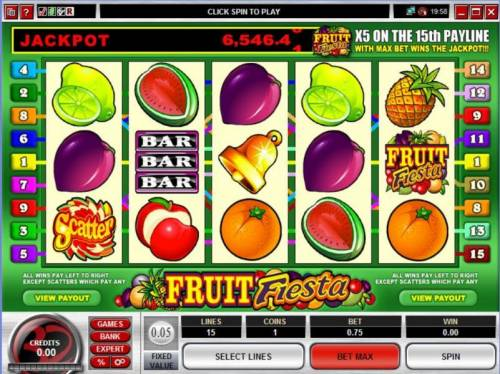 Fruit Fiesta 5 Reel Review Slots Main game board featuring five reels and 15 paylines with a JACKPOT payout