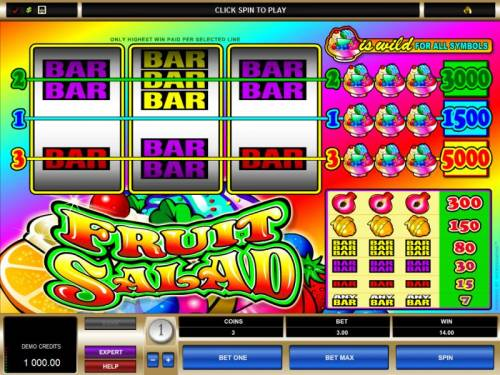 Fruit Salad Review Slots main game baord featuring 3 reels and 3 paylines
