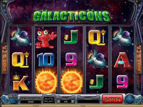 Galacticons Review Slots main game board featuring five reels and 243 ways