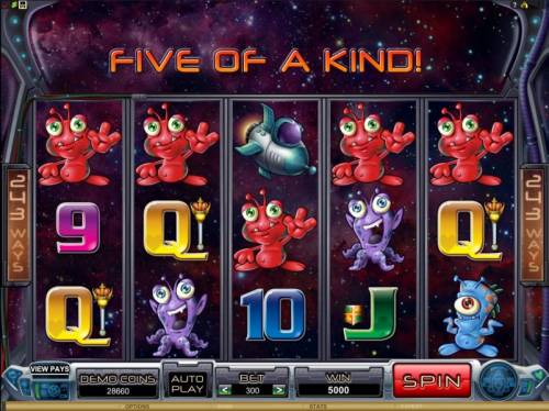 Galacticons Review Slots five of a kind triggers a 5000 coin big win jackpot