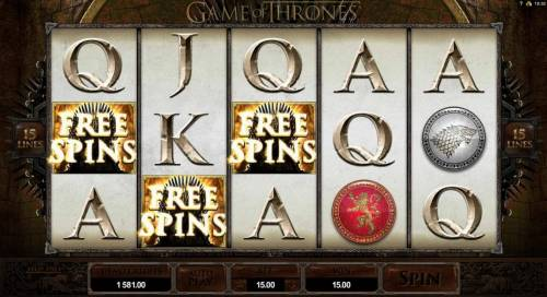 Game of Thrones - 15 Lines Review Slots Three scatter symbols triggers free spins feature