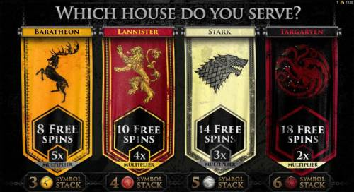 Game of Thrones - 15 Lines Review Slots select from one of  the free spins and multiplier combinations