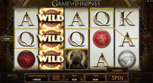 Game of Thrones - 15 Lines Review Slots Stacked wilds triggers multiple winning paylines.