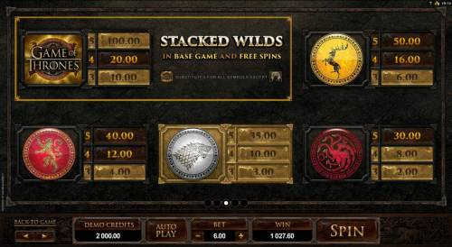 Game of Thrones - 243 Ways Review Slots High value slot game symbols paytable