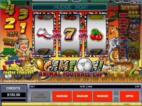 Game On! Review Slots Main game board featuring three reels and 1 payline with a 100x max payout