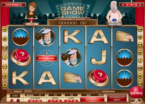 Game Show Review Slots main game board featuring five reels, 15 paylines and a progressive jackpot