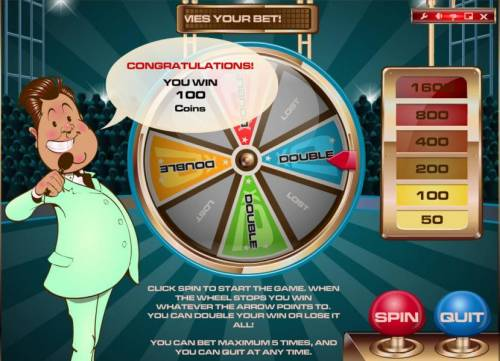Game Show Review Slots wheel lands a a double for a 100 coin jackpot